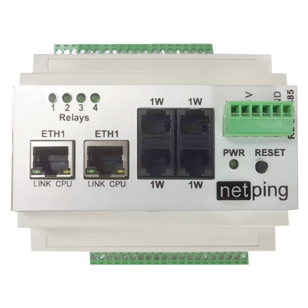 NetPing v4 устройство удаленного мониторинга датчиков по сети Ethernet/Internet на DIN-рейку